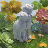 3D model garden couple cats