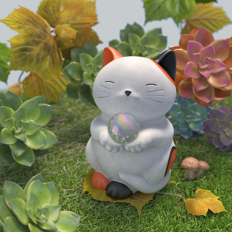 garden maneki neko cat 3D model