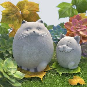 garden fat cats 3D