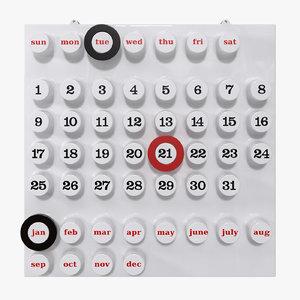 perpetual calendar 3D model