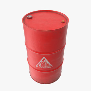 explosive red oil barrel 3D model