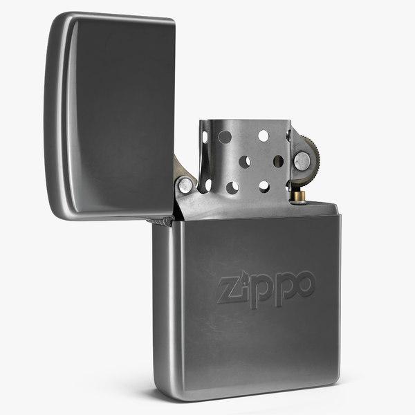 classic zippo lighter rigged 3D