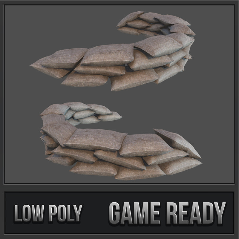 3D sandbags defense pbr model