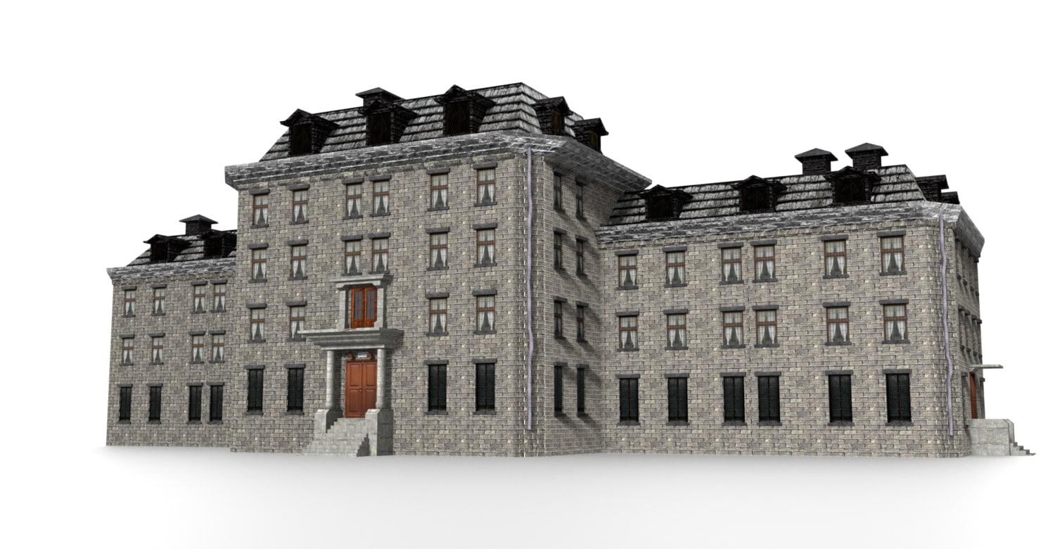 3D old asylum building exterior model
