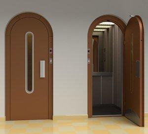 3D vintage european elevator door model