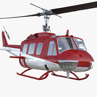 Air Medical Helicopter Bell Model 212 Rigged 3D Model