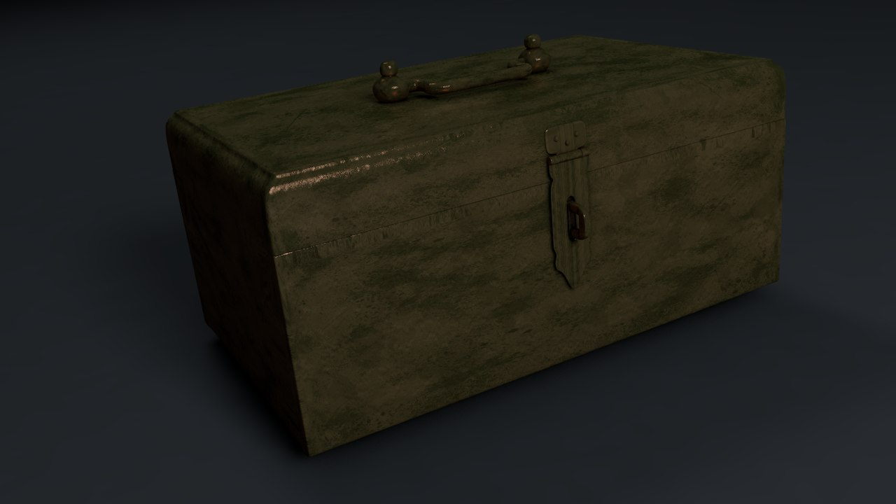 3D old treasure box