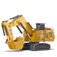 3D model mining excavator 6050 backhoe