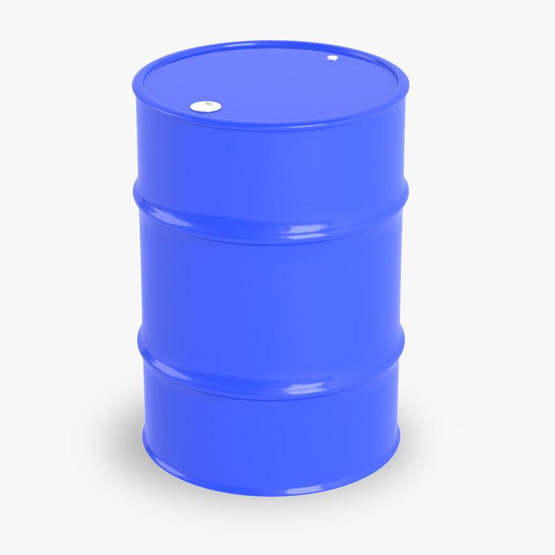 3D model blue oil barrel
