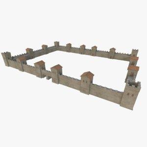 3D roman fort wall 1 model