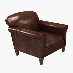 chair custom club brown leather 3D