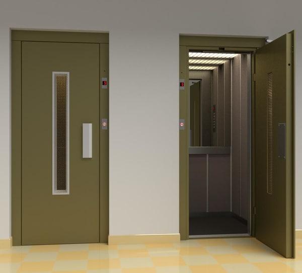 3D vintage european elevator door metal