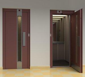vintage european elevator door metal 3D model