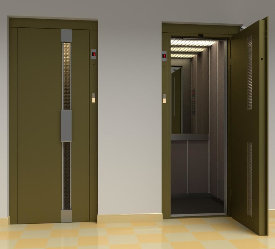 vintage european elevator door metal model
