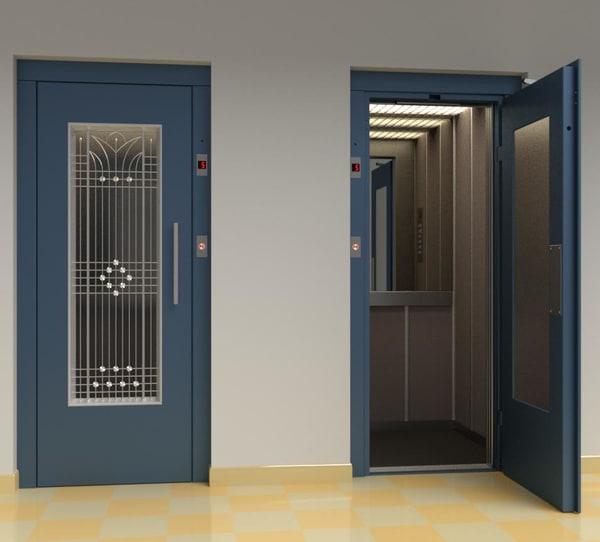 3D model vintage european elevator door metal