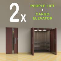vintage lift elevator doors 3D model