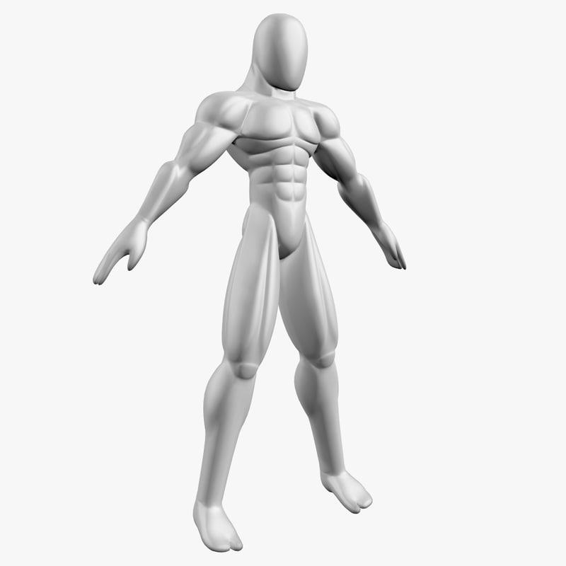 3D base mesh muscular male model
