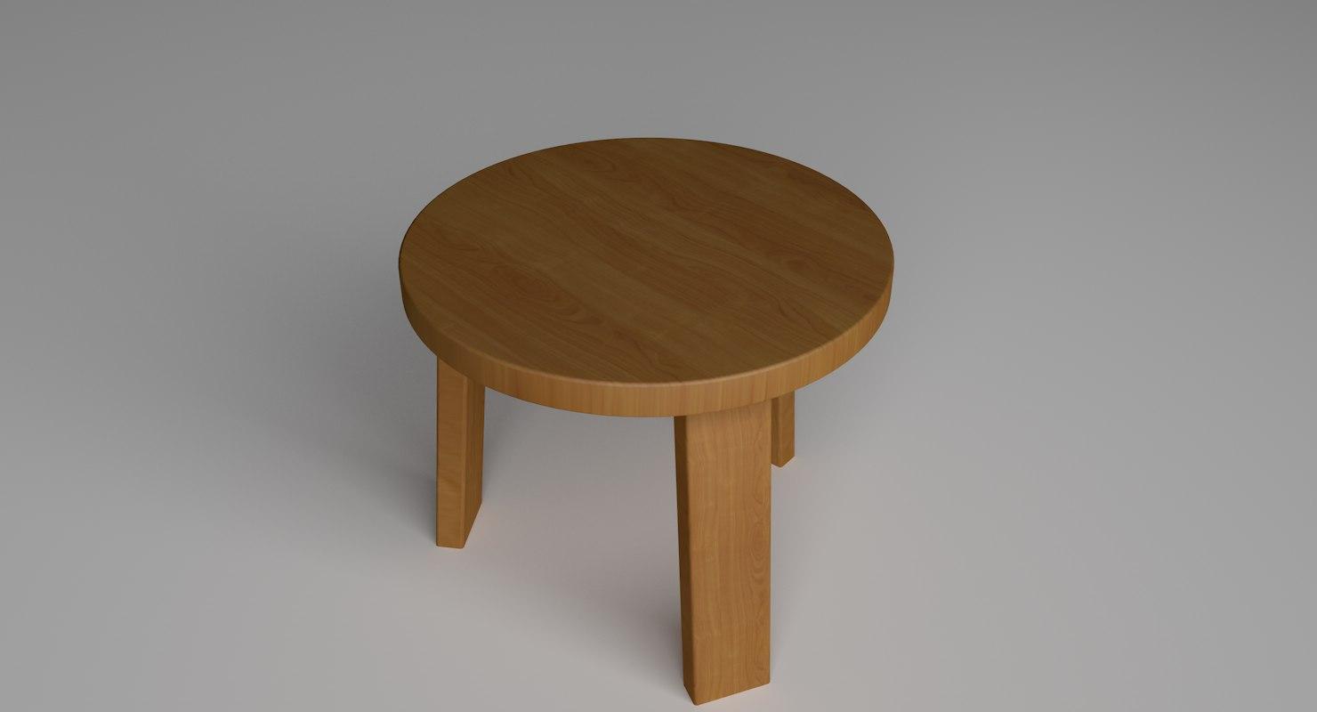 3D model stool wood b3
