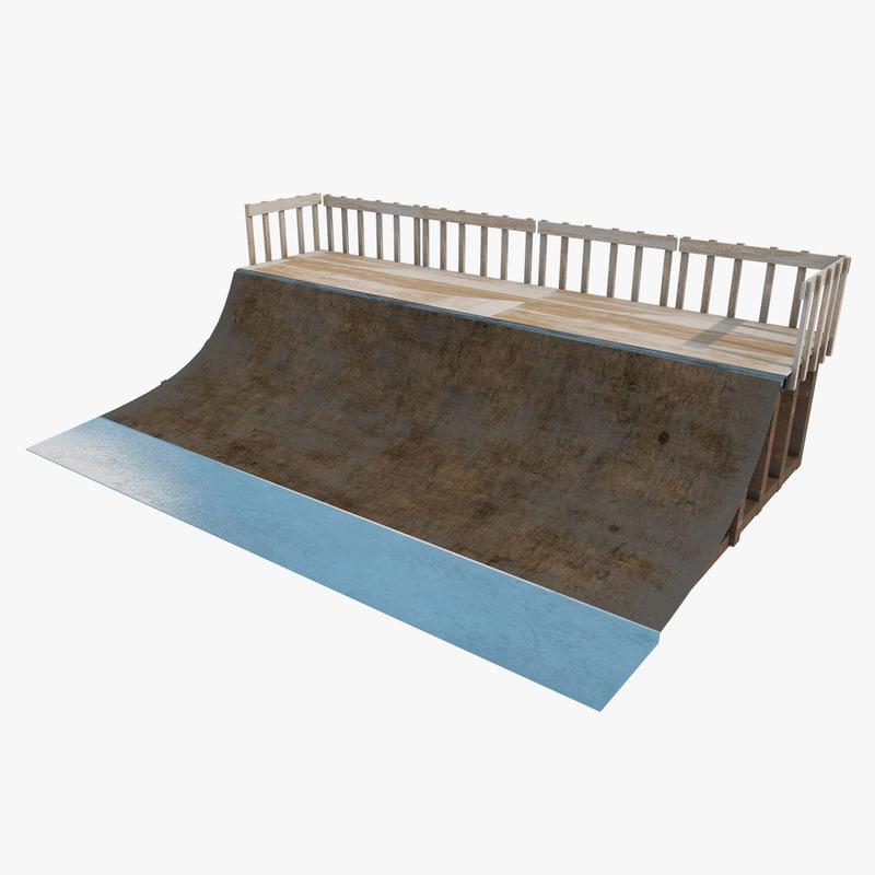 3D mini skate ramp model