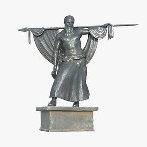 bavarian warrior statue 3D model