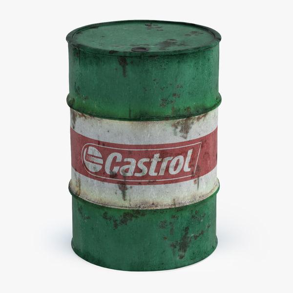 old oil barrel castrol 3D model