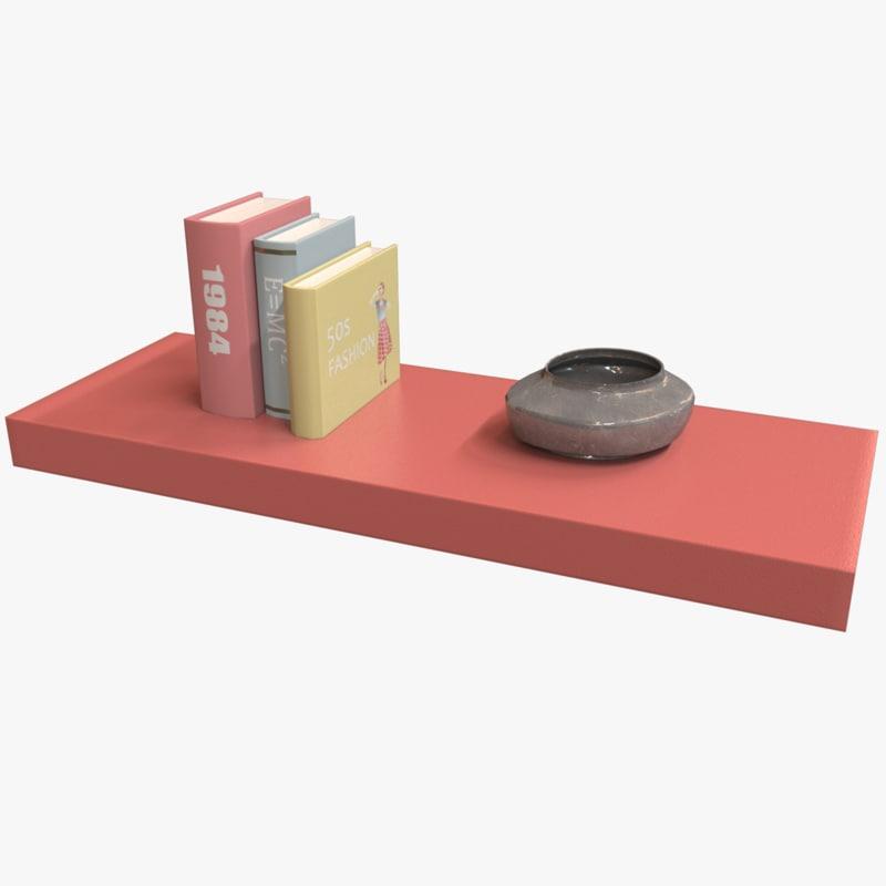 3D low-poly bookshelf books model