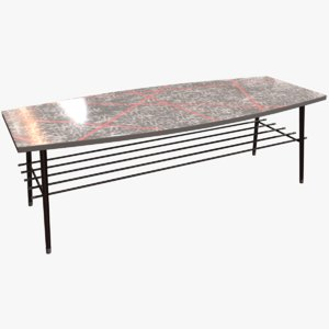 low-poly vintage 50s coffee table 3D model