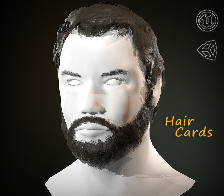 3D hair cards beard model