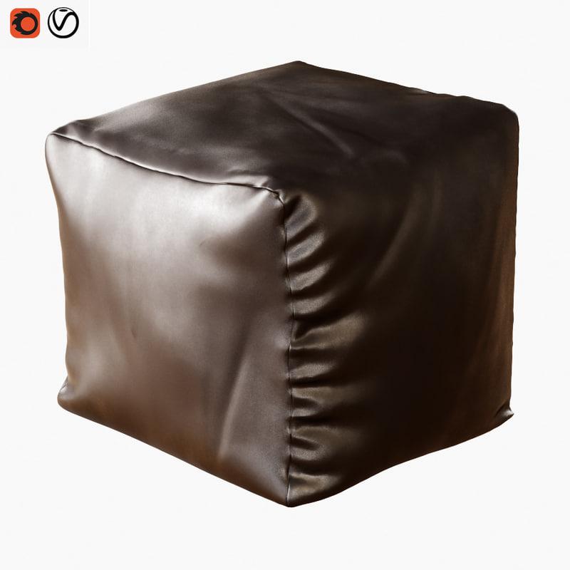 square pouf 3D model