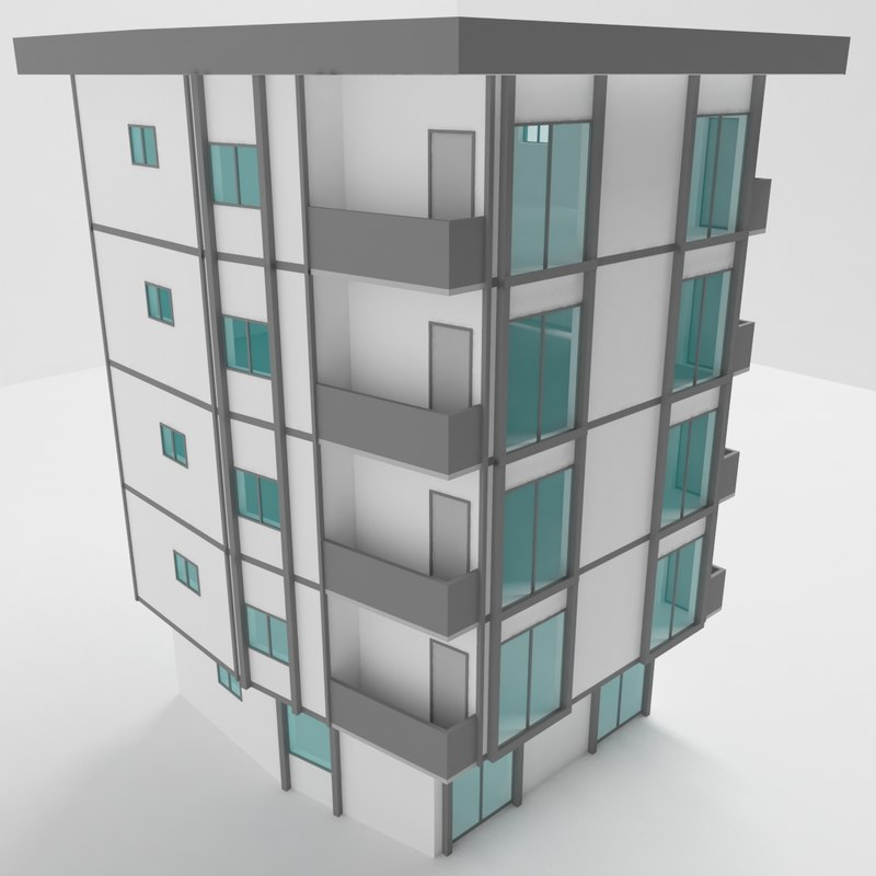 3D model street apartment architecture