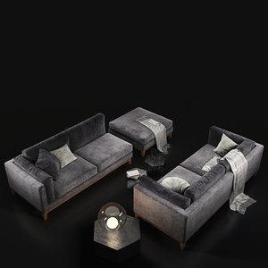 sofa cristal club violet 3D