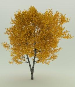 withe oak autumn leaves 3D