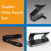 stapler hole punch set 3D model