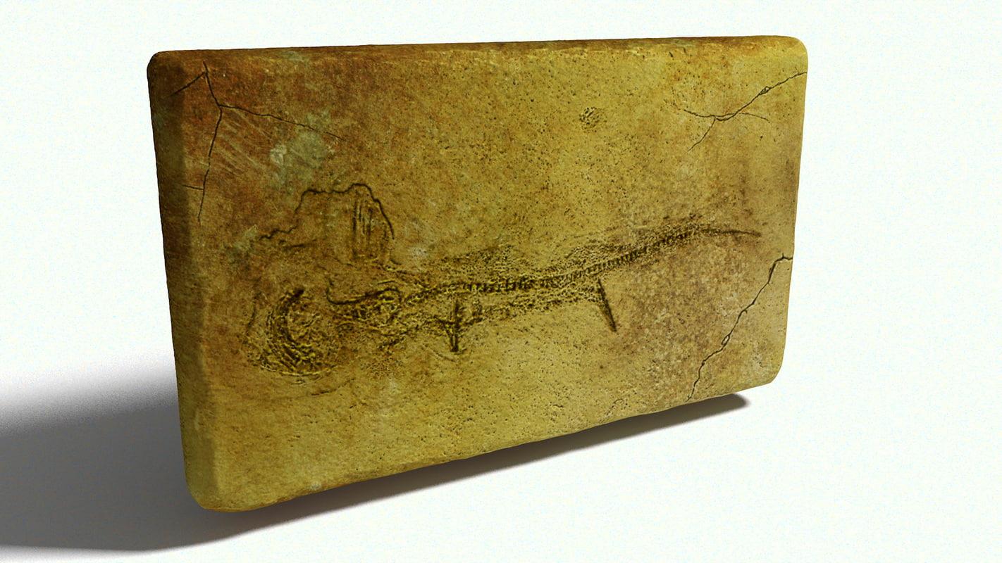 3D fossil stone fish