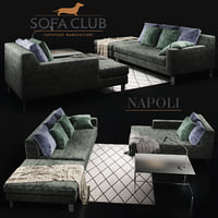3D model sofa club green