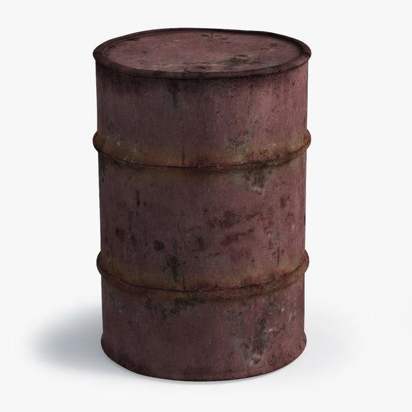 3D old oil barrel red