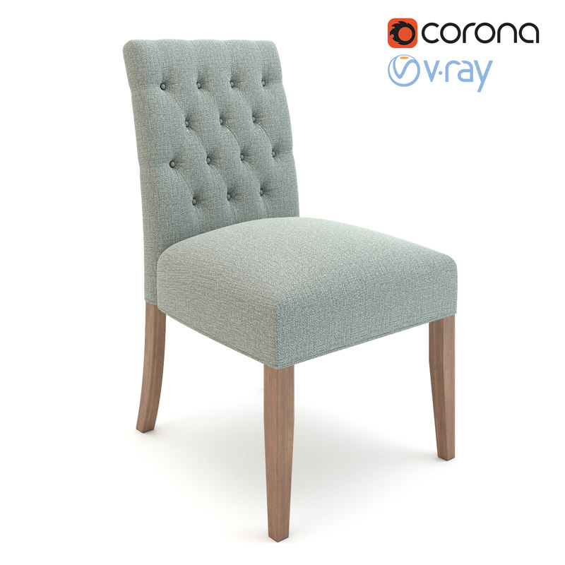 Realistic Button Tufted Chair 3D Model