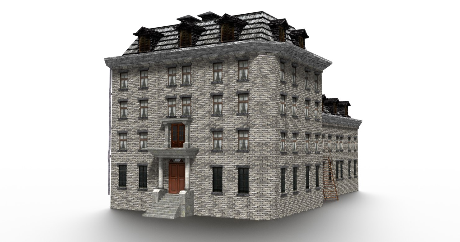 old asylum building exterior 3D model