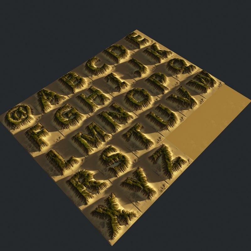 alphabet terrain 3D model