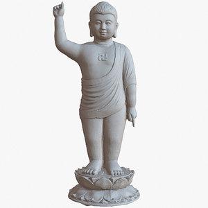 3D sculpture boy budha 1m model