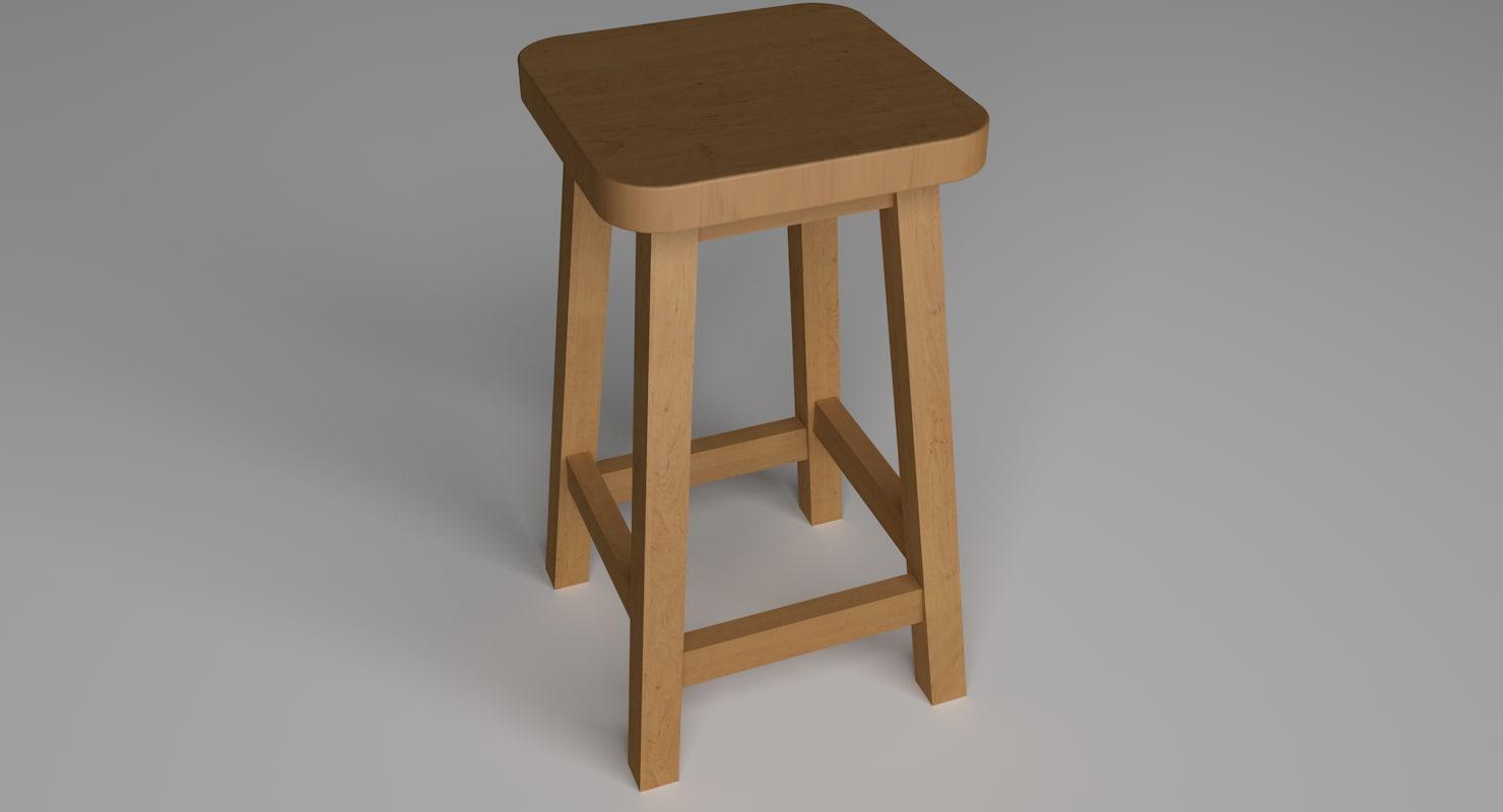 3D stool wood a2