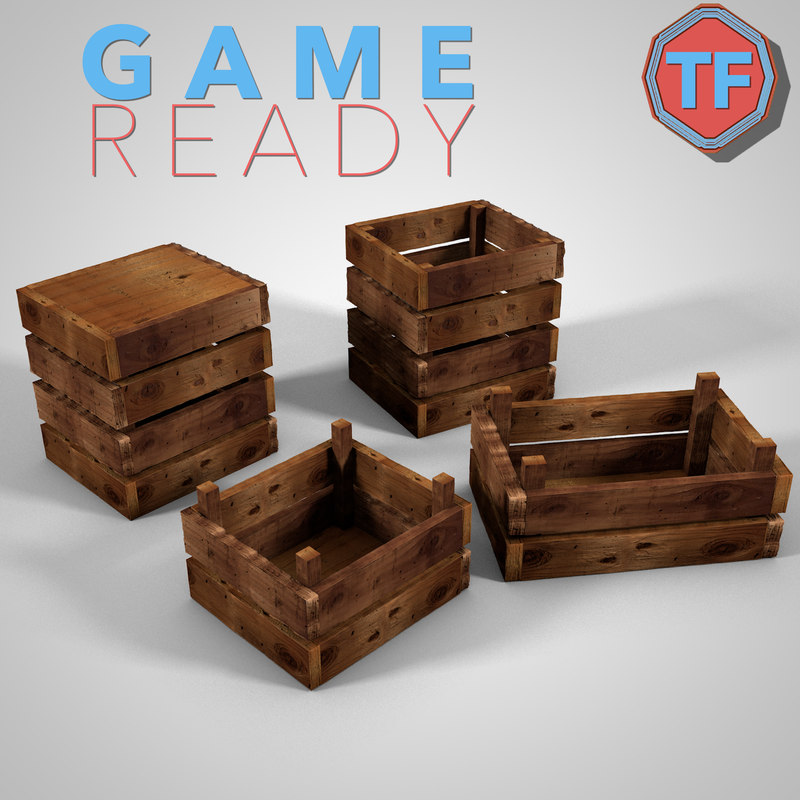 wood crate ready wooden plank model