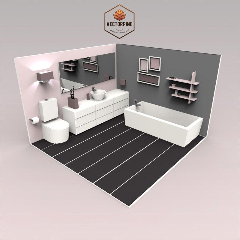 3D interiors - bathroom model