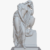 sculpture woman vase 1m 3D