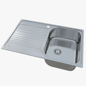 3D sink blanco tipo 45