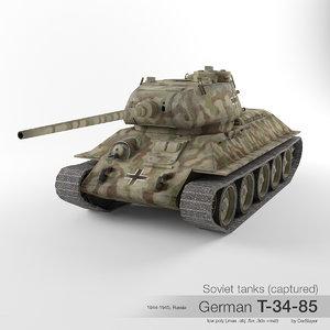 t-34-85 t-34 soviet tank 3D