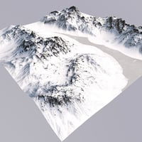 snowy mountain terrain 3D model