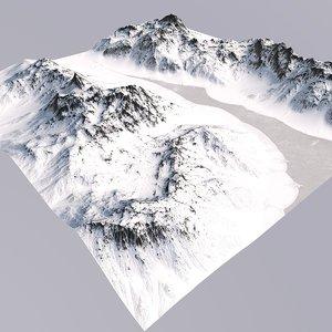 snowy mountain terrain 3D model
