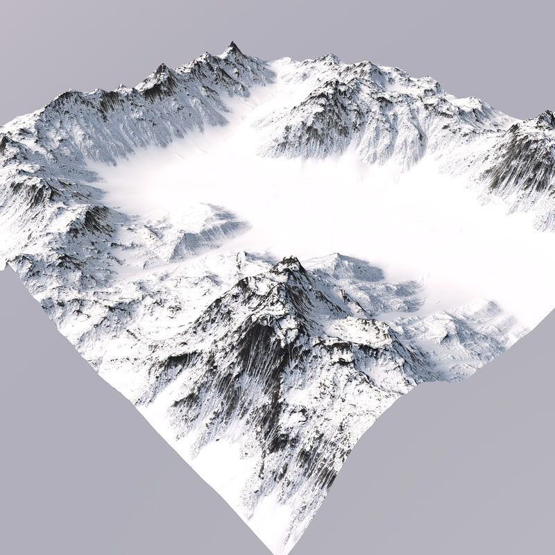 snowy mountain terrain model