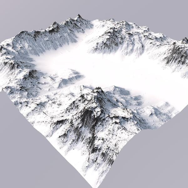 snowy mountain terrain model
